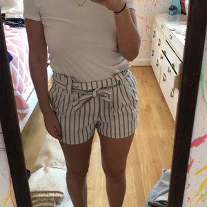 Zara paperbag striped shorts